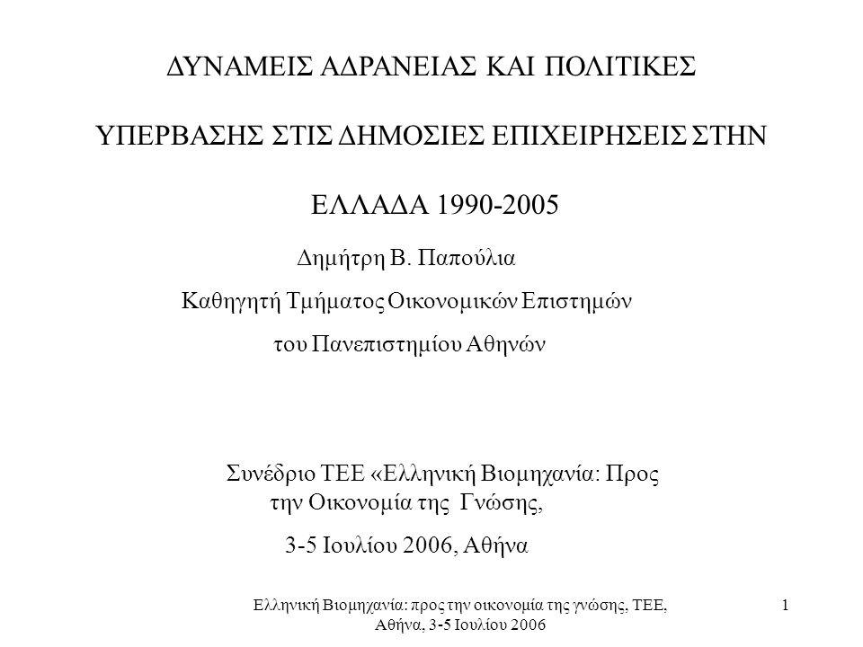 Ελληνική Βιομηχανία: προς την οικονομία της γνώσης, ΤΕΕ, Αθήνα, 3-5 Ιουλίου 2006 1 ΔΥΝΑΜΕΙΣ ΑΔΡΑΝΕΙΑΣ ΚΑΙ ΠΟΛΙΤΙΚΕΣ ΥΠΕΡΒΑΣΗΣ ΣΤΙΣ ΔΗΜΟΣΙΕΣ ΕΠΙΧΕΙΡΗΣΕΙΣ ΣΤΗΝ ΕΛΛΑΔΑ 1990-2005 Δημήτρη Β.