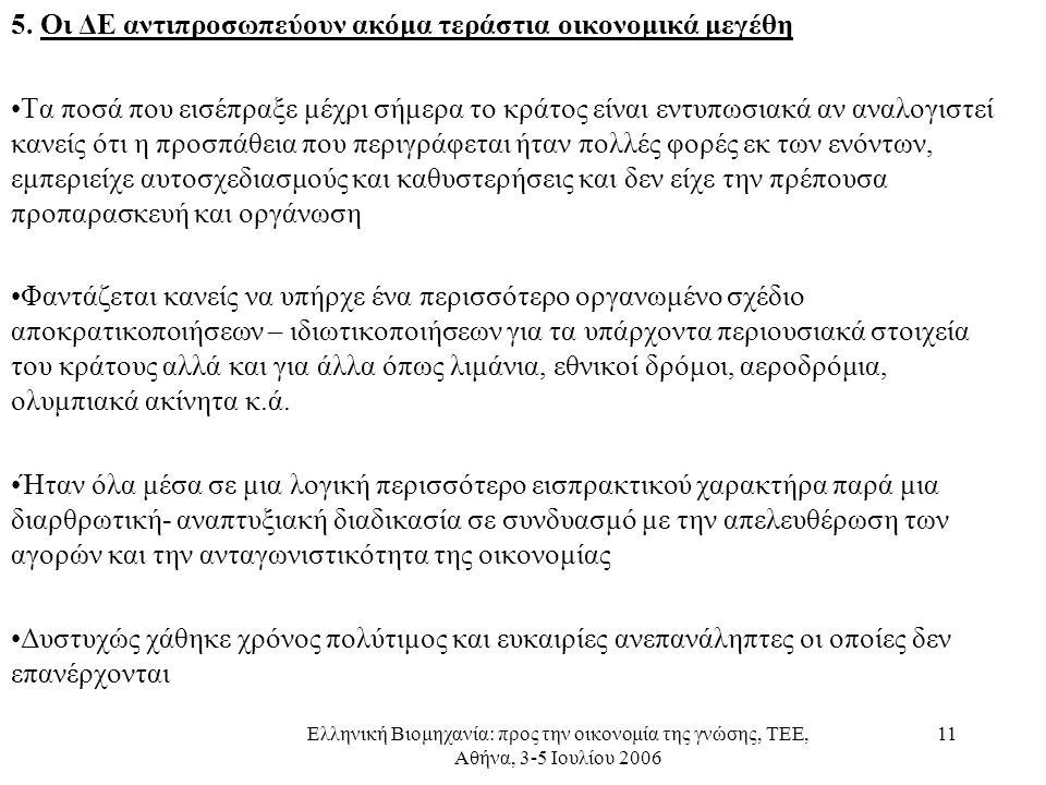 Ελληνική Βιομηχανία: προς την οικονομία της γνώσης, ΤΕΕ, Αθήνα, 3-5 Ιουλίου 2006 11 5. Οι ΔΕ αντιπροσωπεύουν ακόμα τεράστια οικονομικά μεγέθη •Τα ποσά