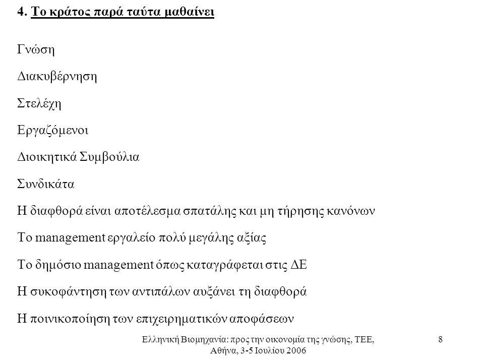 Ελληνική Βιομηχανία: προς την οικονομία της γνώσης, ΤΕΕ, Αθήνα, 3-5 Ιουλίου 2006 8 4. Το κράτος παρά ταύτα μαθαίνει Γνώση Διακυβέρνηση Στελέχη Εργαζόμ