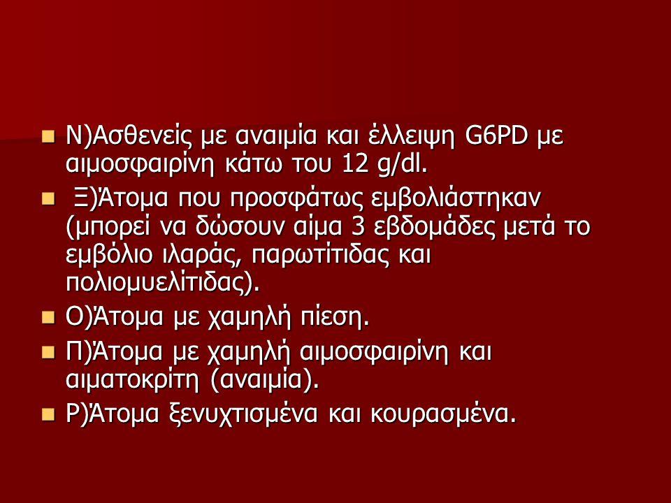  Ν)Ασθενείς με αναιμία και έλλειψη G6PD με αιμοσφαιρίνη κάτω του 12 g/dl.  Ξ)Άτομα που προσφάτως εμβολιάστηκαν (μπορεί να δώσουν αίμα 3 εβδομάδες με
