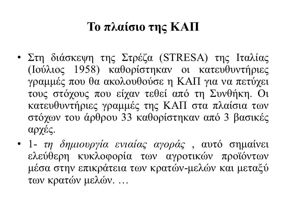 Το πλαίσιο της ΚΑΠ • Στη διάσκεψη της Στρέζα (STRESA) της Ιταλίας (Ιούλιος 1958) καθορίστηκαν οι κατευθυντήριες γραμμές που θα ακολουθούσε η ΚΑΠ για ν
