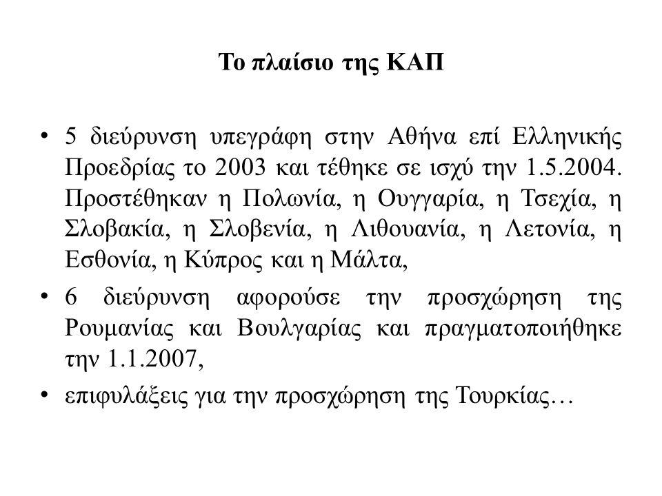 Το πλαίσιο της ΚΑΠ • 5 διεύρυνση υπεγράφη στην Αθήνα επί Ελληνικής Προεδρίας το 2003 και τέθηκε σε ισχύ την 1.5.2004. Προστέθηκαν η Πολωνία, η Ουγγαρί