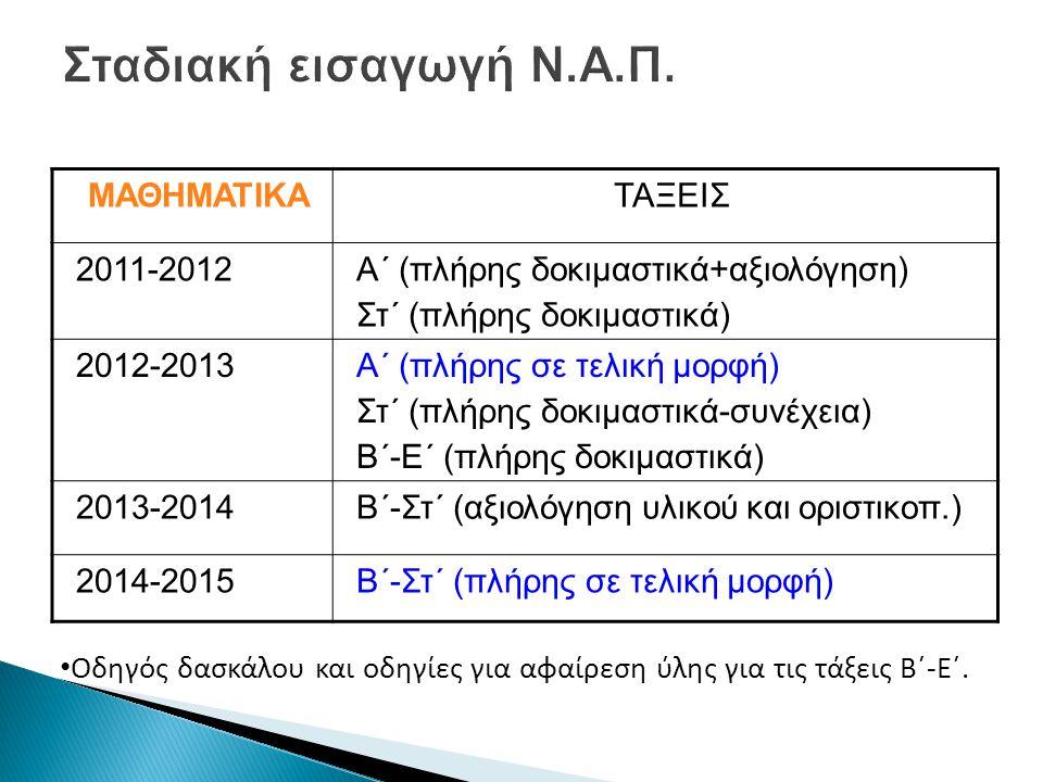 ΜΑΘΗΜΑΤΙΚΑΤΑΞΕΙΣ 2011-2012Α΄ (πλήρης δοκιμαστικά+αξιολόγηση) Στ΄ (πλήρης δοκιμαστικά) 2012-2013Α΄ (πλήρης σε τελική μορφή) Στ΄ (πλήρης δοκιμαστικά-συνέχεια) Β΄-Ε΄ (πλήρης δοκιμαστικά) 2013-2014Β΄-Στ΄ (αξιολόγηση υλικού και οριστικοπ.) 2014-2015Β΄-Στ΄ (πλήρης σε τελική μορφή) • Οδηγός δασκάλου και οδηγίες για αφαίρεση ύλης για τις τάξεις Β΄-Ε΄.