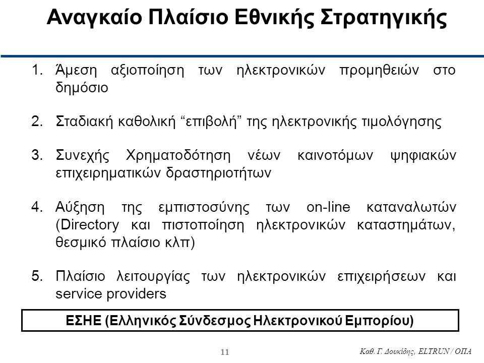 """11 Καθ. Γ. Δουκίδης, ELTRUN / ΟΠΑ 1.Άμεση αξιοποίηση των ηλεκτρονικών προμηθειών στο δημόσιο 2.Σταδιακή καθολική """"επιβολή"""" της ηλεκτρονικής τιμολόγηση"""