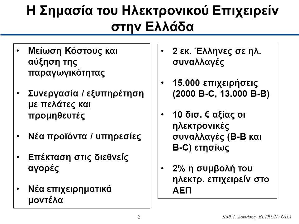 2 Καθ. Γ. Δουκίδης, ELTRUN / ΟΠΑ •Μείωση Κόστους και αύξηση της παραγωγικότητας •Συνεργασία / εξυπηρέτηση με πελάτες και προμηθευτές •Νέα προϊόντα / υ