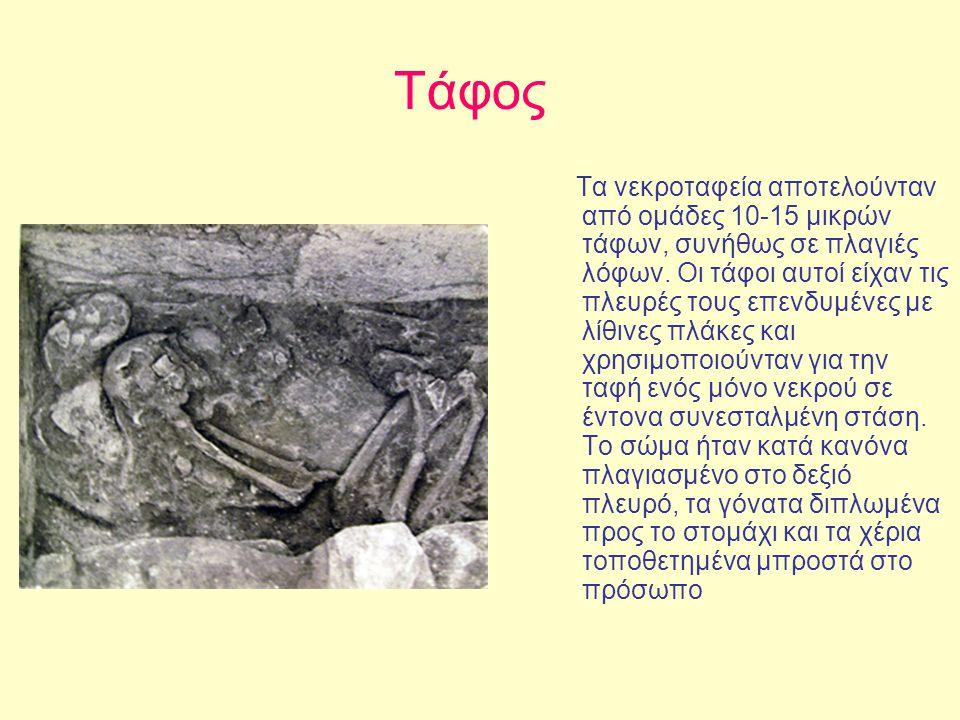 Τάφος Τα νεκροταφεία αποτελούνταν από ομάδες 10-15 μικρών τάφων, συνήθως σε πλαγιές λόφων. Οι τάφοι αυτοί είχαν τις πλευρές τους επενδυμένες με λίθινε