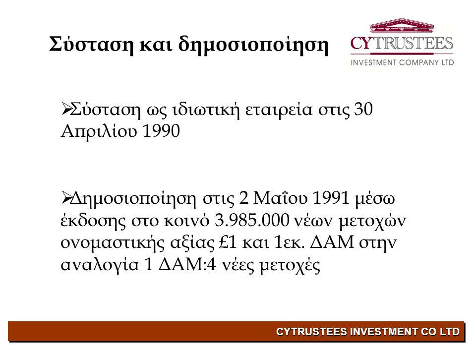 CYTRUSTEES INVESTMENT CO LTD  Σύσταση ως ιδιωτική εταιρεία στις 30 Απριλίου 1990  Δημοσιοποίηση στις 2 Μαΐου 1991 μέσω έκδοσης στο κοινό 3.985.000 νέων μετοχών ονομαστικής αξίας £1 και 1εκ.