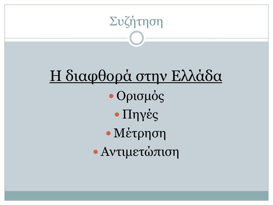 Συζήτηση Η διαφθορά στην Ελλάδα  Ορισμός  Πηγές  Μέτρηση  Αντιμετώπιση