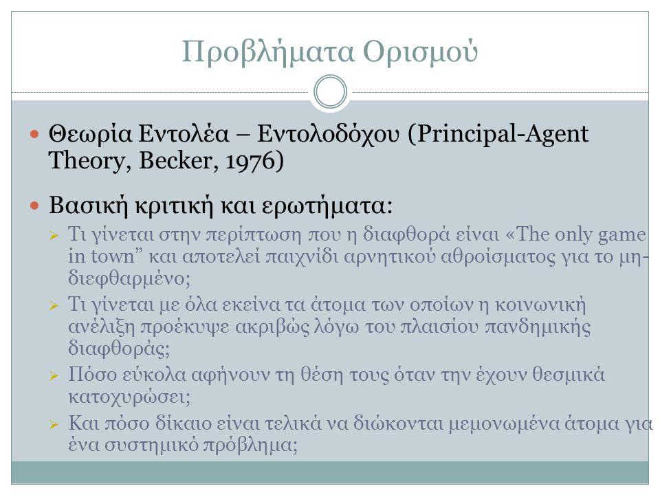Προβλήματα Ορισμού  Θεωρία Εντολέα – Εντολοδόχου (Principal-Agent Theory, Becker, 1976)  Βασική κριτική και ερωτήματα:  Τι γίνεται στην περίπτωση π