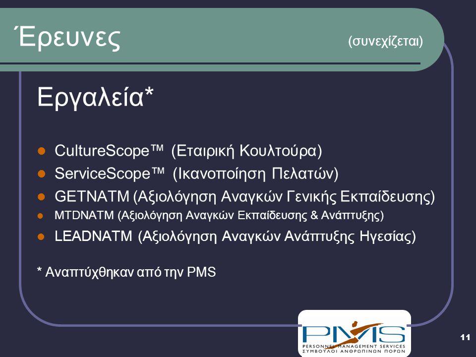 11 Έρευνες (συνεχίζεται) Εργαλεία*  CultureScope™ (Εταιρική Κουλτούρα)  ServiceScope™ (Ικανοποίηση Πελατών)  GETNATM (Αξιολόγηση Αναγκών Γενικής Εκπαίδευσης)  MTDNATM (Αξιολόγηση Αναγκών Εκπαίδευσης & Ανάπτυξης)  LEADNATM (Αξιολόγηση Αναγκών Ανάπτυξης Ηγεσίας) * Αναπτύχθηκαν από την PMS