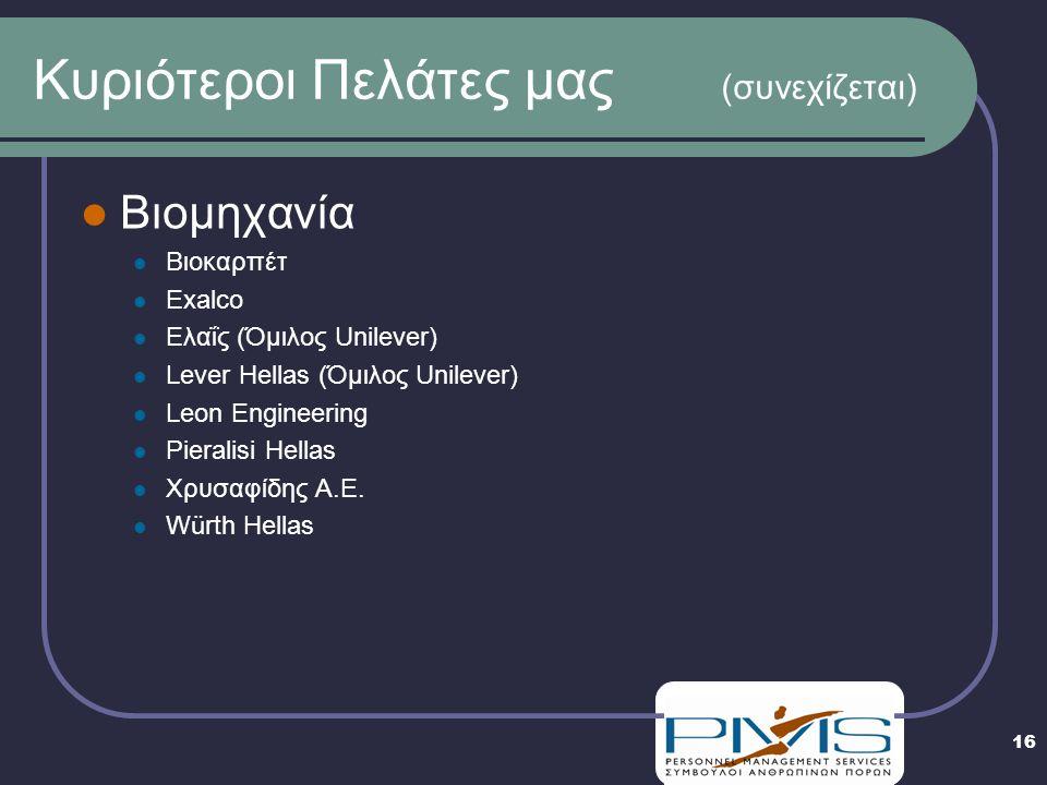 16 Κυριότεροι Πελάτες μας (συνεχίζεται)  Βιομηχανία  Βιοκαρπέτ  Exalco  Ελαΐς (Όμιλος Unilever)  Lever Hellas (Όμιλος Unilever)  Leon Engineering  Pieralisi Hellas  Χρυσαφίδης A.E.