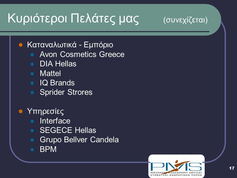 17 Κυριότεροι Πελάτες μας (συνεχίζεται)  Καταναλωτικά - Εμπόριο  Avon Cosmetics Greece  DIA Hellas  Mattel  IQ Brands  Sprider Strores  Υπηρεσίες  Interface  SEGECE Hellas  Grupo Bellver Candela  BPM