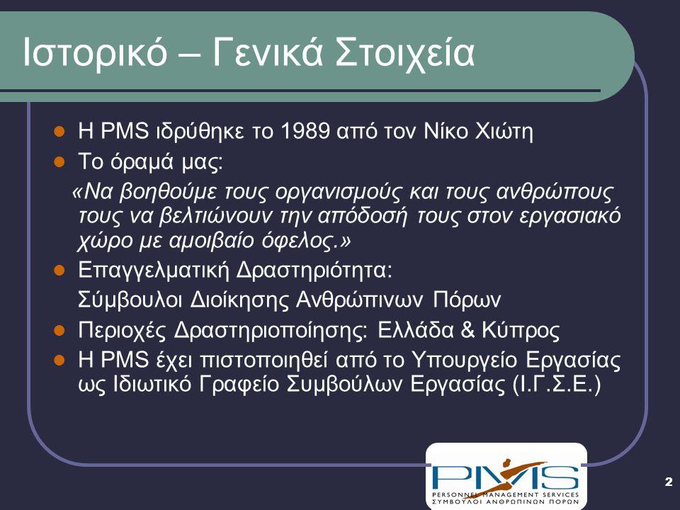 2 Ιστορικό – Γενικά Στοιχεία  Η PMS ιδρύθηκε το 1989 από τον Νίκο Χιώτη  Το όραμά μας: «Να βοηθούμε τους οργανισμούς και τους ανθρώπους τους να βελτιώνουν την απόδοσή τους στον εργασιακό χώρο με αμοιβαίο όφελος.»  Επαγγελματική Δραστηριότητα: Σύμβουλοι Διοίκησης Ανθρώπινων Πόρων  Περιοχές Δραστηριοποίησης: Ελλάδα & Κύπρος  Η PMS έχει πιστοποιηθεί από το Υπουργείο Εργασίας ως Ιδιωτικό Γραφείο Συμβούλων Εργασίας (Ι.Γ.Σ.Ε.)