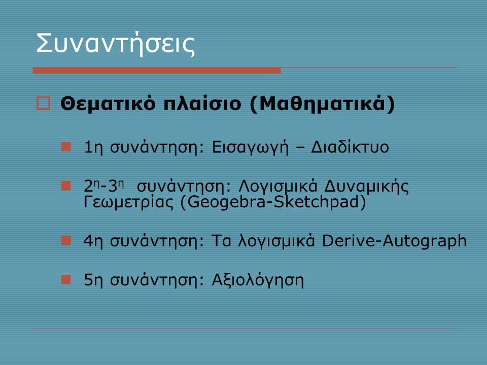 Συναντήσεις  Θεματικό πλαίσιο (Mαθηματικά)  1η συνάντηση: Εισαγωγή – Διαδίκτυο  2 η -3 η συνάντηση: Λογισμικά Δυναμικής Γεωμετρίας (Geogebra-Sketchpad)  4η συνάντηση: Τα λογισμικά Derive-Autograph  5η συνάντηση: Αξιολόγηση