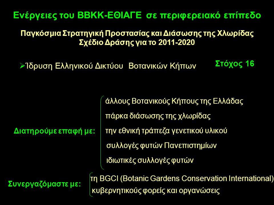  Ίδρυση Ελληνικού Δικτύου Βοτανικών Κήπων Στόχος 16 πάρκα διάσωσης της χλωρίδας την εθνική τράπεζα γενετικού υλικού άλλους Βοτανικούς Κήπους της Ελλά