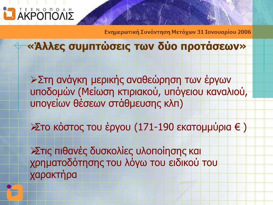 Ενημερωτική Συνάντηση Μετόχων 31 Ιανουαρίου 2006 «Άλλες συμπτώσεις των δύο προτάσεων»  Στη ανάγκη μερικής αναθεώρηση των έργων υποδομών (Μείωση κτιριακού, υπόγειου καναλιού, υπογείων θέσεων στάθμευσης κλπ)  Στο κόστος του έργου (171-190 εκατομμύρια € )  Στις πιθανές δυσκολίες υλοποίησης και χρηματοδότησης του λόγω του ειδικού του χαρακτήρα