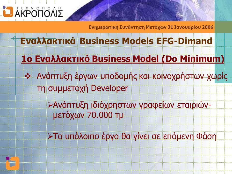 Ενημερωτική Συνάντηση Μετόχων 31 Ιανουαρίου 2006 Εναλλακτικά Business Models EFG-Dimand 1ο Εναλλακτικό Business Model (Do Minimum)  Ανάπτυξη έργων υποδομής και κοινοχρήστων χωρίς τη συμμετοχή Developer  Ανάπτυξη ιδιόχρηστων γραφείων εταιριών- μετόχων 70.000 τμ  Το υπόλοιπο έργο θα γίνει σε επόμενη Φάση