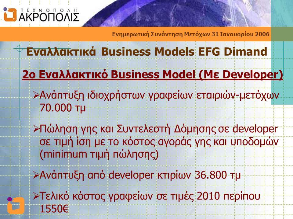 Ενημερωτική Συνάντηση Μετόχων 31 Ιανουαρίου 2006 Εναλλακτικά Business Models EFG Dimand 2o Εναλλακτικό Business Model (Με Developer)  Ανάπτυξη ιδιοχρήστων γραφείων εταιριών-μετόχων 70.000 τμ  Πώληση γης και Συντελεστή Δόμησης σε developer σε τιμή ίση με το κόστος αγοράς γης και υποδομών (minimum τιμή πώλησης)  Ανάπτυξη από developer κτιρίων 36.800 τμ  Τελικό κόστος γραφείων σε τιμές 2010 περίπου 1550€