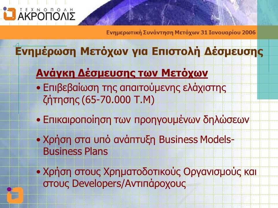 Ενημερωτική Συνάντηση Μετόχων 31 Ιανουαρίου 2006 Ενημέρωση Μετόχων για Επιστολή Δέσμευσης Ανάγκη Δέσμευσης των Μετόχων •Επιβεβαίωση της απαιτούμενης ελάχιστης ζήτησης (65-70.000 Τ.Μ) •Επικαιροποίηση των προηγουμένων δηλώσεων •Χρήση στα υπό ανάπτυξη Business Models- Business Plans •Χρήση στους Χρηματοδοτικούς Οργανισμούς και στους Developers/Αντιπάροχους