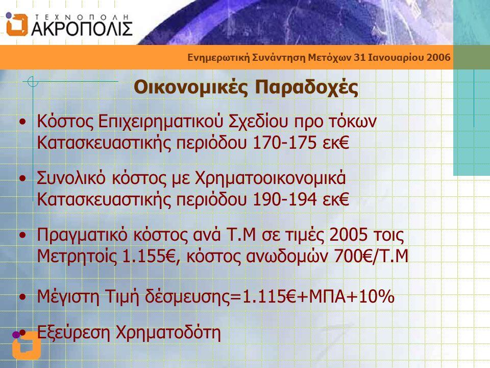 Ενημερωτική Συνάντηση Μετόχων 31 Ιανουαρίου 2006 Οικονομικές Παραδοχές •Κόστος Επιχειρηματικού Σχεδίου προ τόκων Κατασκευαστικής περιόδου 170-175 εκ€ •Συνολικό κόστος με Χρηματοοικονομικά Κατασκευαστικής περιόδου 190-194 εκ€ •Πραγματικό κόστος ανά Τ.Μ σε τιμές 2005 τοις Μετρητοίς 1.155€, κόστος ανωδομών 700€/Τ.Μ •Μέγιστη Τιμή δέσμευσης=1.115€+ΜΠΑ+10% •Εξεύρεση Χρηματοδότη
