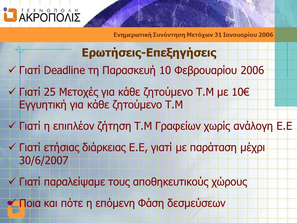 Ενημερωτική Συνάντηση Μετόχων 31 Ιανουαρίου 2006 Ερωτήσεις-Επεξηγήσεις  Γιατί Deadline τη Παρασκευή 10 Φεβρουαρίου 2006  Γιατί 25 Μετοχές για κάθε ζητούμενο Τ.Μ με 10€ Εγγυητική για κάθε ζητούμενο Τ.Μ  Γιατί η επιπλέον ζήτηση Τ.Μ Γραφείων χωρίς ανάλογη Ε.Ε  Γιατί ετήσιας διάρκειας Ε.Ε, γιατί με παράταση μέχρι 30/6/2007  Γιατί παραλείψαμε τους αποθηκευτικούς χώρους  Ποια και πότε η επόμενη Φάση δεσμεύσεων