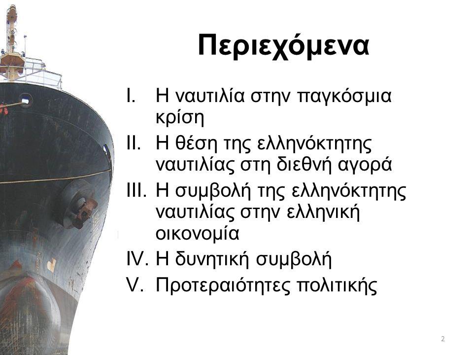 Περιεχόμενα I.Η ναυτιλία στην παγκόσμια κρίση II.H θέση της ελληνόκτητης ναυτιλίας στη διεθνή αγορά III.Η συμβολή της ελληνόκτητης ναυτιλίας στην ελλη