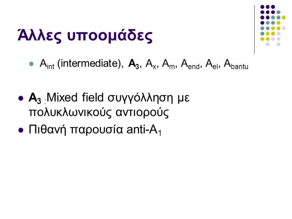 Άλλες υποομάδες  A int (intermediate), A 3, A x, A m, A end, A el, A bantu  A 3 : Mixed field συγγόλληση με πολυκλωνικούς αντιορούς  Πιθανή παρουσία anti-A 1