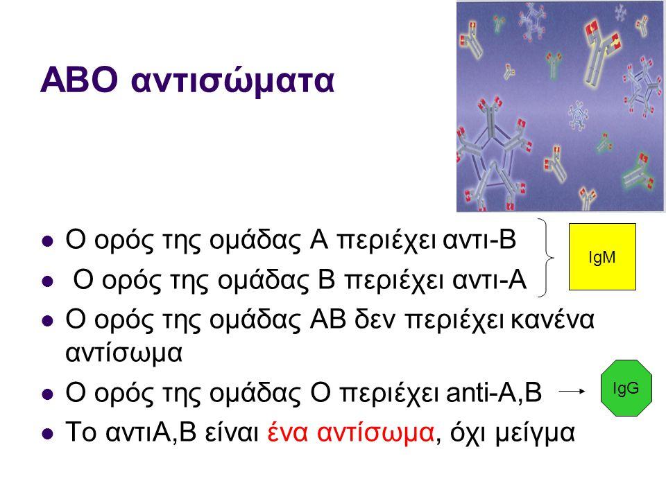 ΑΒΟ αντισώματα  Ο ορός της ομάδας Α περιέχει αντι-Β  Ο ορός της ομάδας Β περιέχει αντι-Α  Ο ορός της ομάδας AB δεν περιέχει κανένα αντίσωμα  Ο ορός της ομάδας O περιέχει anti-A,B  Το αντιΑ,Β είναι ένα αντίσωμα, όχι μείγμα IgM IgG