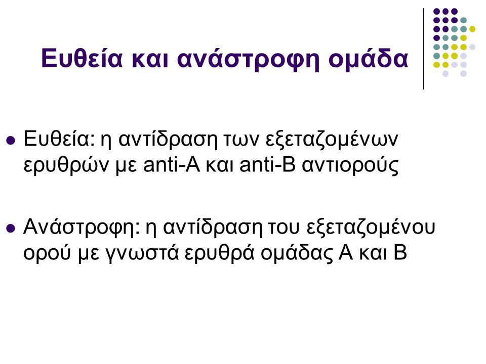 Ευθεία και ανάστροφη ομάδα  Ευθεία: η αντίδραση των εξεταζομένων ερυθρών με anti-A και anti-B αντιορούς  Ανάστροφη: η αντίδραση του εξεταζομένου ορού με γνωστά ερυθρά ομάδας Α και Β