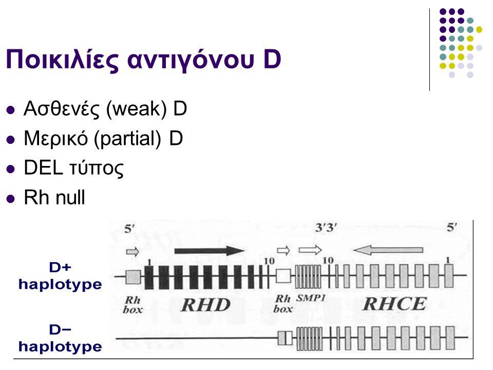Ποικιλίες αντιγόνου D  Ασθενές (weak) D  Μερικό (partial) D  DEL τύπος  Rh null