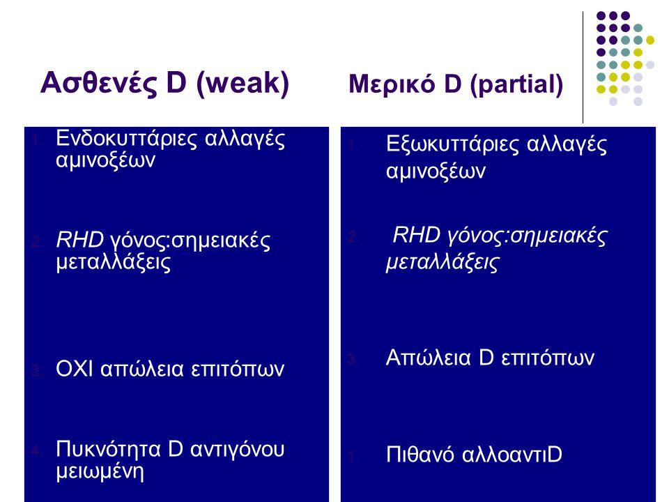 Ασθενές D (weak) Μερικό D (partial) 1.Ενδοκυττάριες αλλαγές αμινοξέων 2.