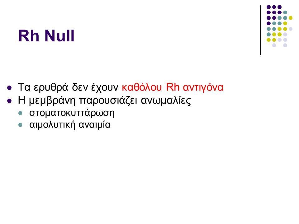 Rh Null  Τα ερυθρά δεν έχουν καθόλου Rh αντιγόνα  Η μεμβράνη παρουσιάζει ανωμαλίες  στοματοκυττάρωση  αιμολυτική αναιμία