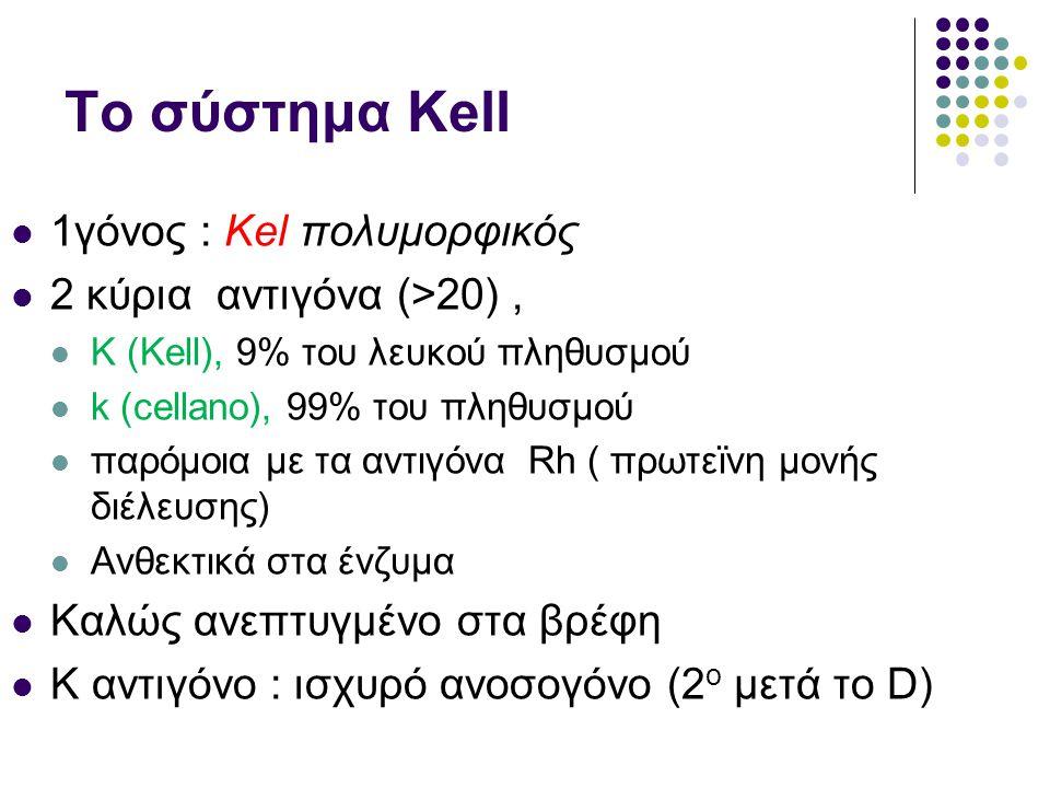 Το σύστημα Kell  1γόνος : Kel πολυμορφικός  2 κύρια αντιγόνα (>20),  K (Kell), 9% του λευκού πληθυσμού  k (cellano), 99% του πληθυσμού  παρόμοια με τα αντιγόνα Rh ( πρωτεϊνη μονής διέλευσης)  Ανθεκτικά στα ένζυμα  Καλώς ανεπτυγμένο στα βρέφη  K αντιγόνο : ισχυρό ανοσογόνο (2 ο μετά το D)