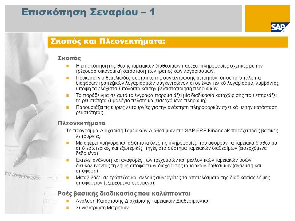 Επισκόπηση Σεναρίου – 2 Απαιτείται  Το πακέτο βελτίωσης 4 του SAP για SAP ERP 6.0 Ρόλοι εταιρίας στις ροές διαδικασίας  Διαχειριστής Κεφαλαίων  Λογιστής Πληρωτέων Λογ/σμών  Λογιστής Τράπεζας Εφαρμογές SAP που Απαιτούνται: