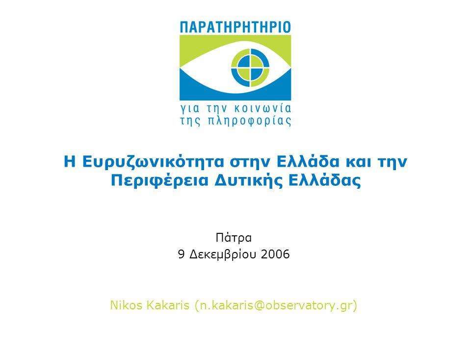Η Ευρυζωνικότητα στην Ελλάδα και την Περιφέρεια Δυτικής Ελλάδας Πάτρα 9 Δεκεμβρίου 2006 Nikos Kakaris (n.kakaris@observatory.gr)