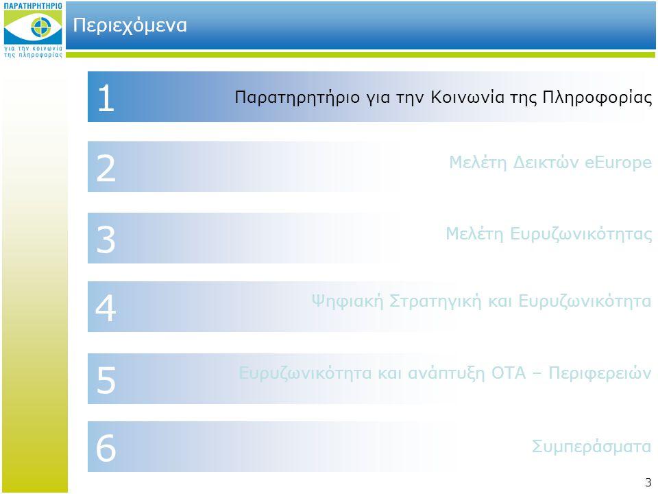 3 2 4 6 1 Περιεχόμενα Μελέτη Δεικτών eEurope Παρατηρητήριο για την Κοινωνία της Πληροφορίας Συμπεράσματα Ψηφιακή Στρατηγική και Ευρυζωνικότητα 3 Μελέτ