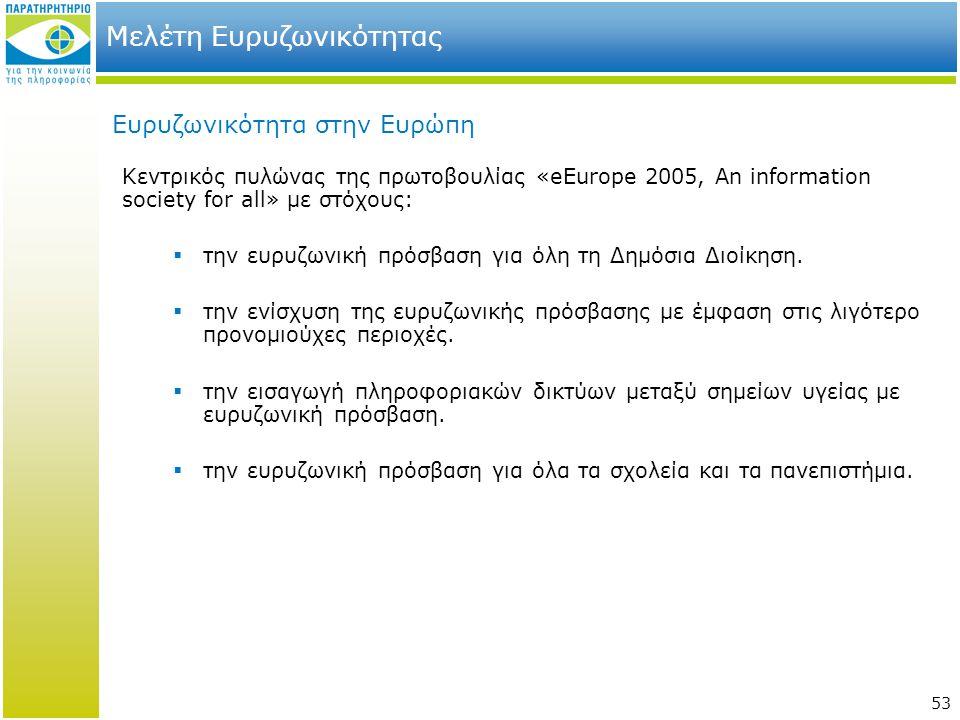 53 Μελέτη Ευρυζωνικότητας Ευρυζωνικότητα στην Ευρώπη Κεντρικός πυλώνας της πρωτοβουλίας «eEurope 2005, An information society for all» με στόχους:  τ