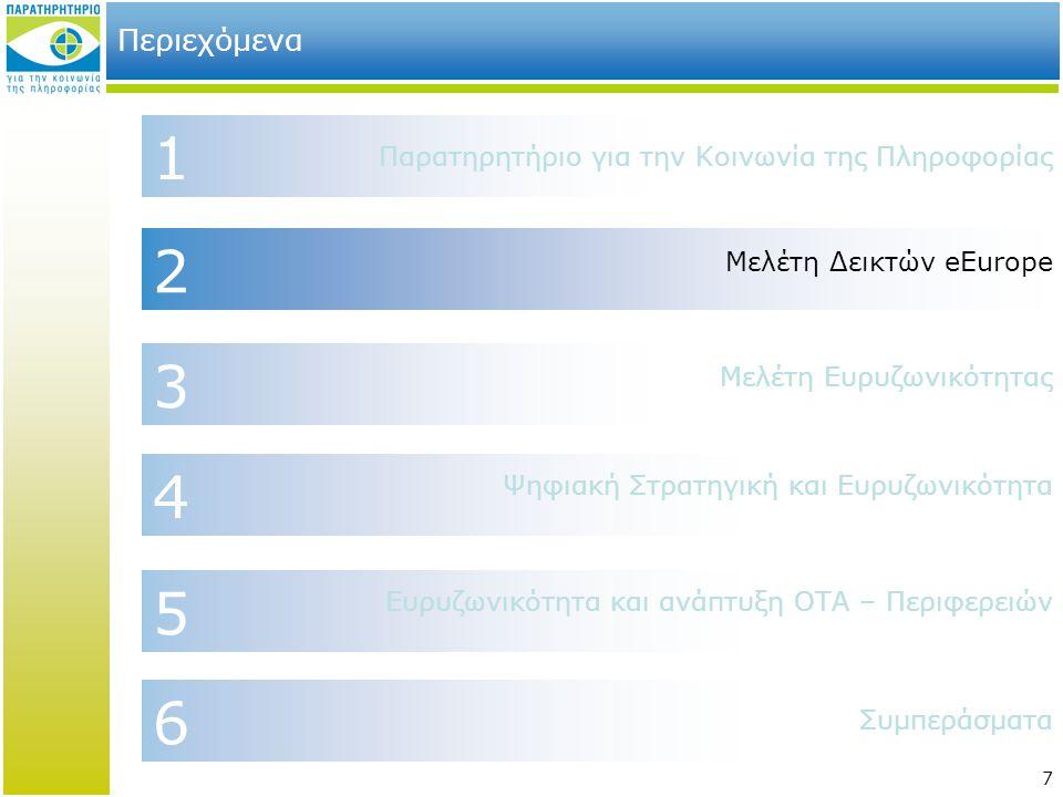 7 2 4 6 1 Περιεχόμενα Μελέτη Δεικτών eEurope Παρατηρητήριο για την Κοινωνία της Πληροφορίας Συμπεράσματα Ψηφιακή Στρατηγική και Ευρυζωνικότητα 3 Μελέτ