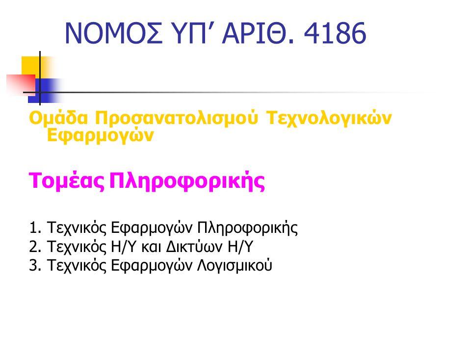 ΝΟΜΟΣ ΥΠ' ΑΡΙΘ. 4186 Ομάδα Προσανατολισμού Τεχνολογικών Εφαρμογών Τομέας Πληροφορικής 1. Τεχνικός Εφαρμογών Πληροφορικής 2. Τεχνικός Η/Υ και Δικτύων Η