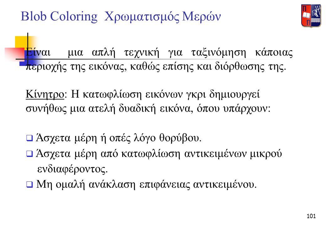 101 Blob Coloring Χρωματισμός Μερών Είναι μια απλή τεχνική για ταξινόμηση κάποιας περιοχής της εικόνας, καθώς επίσης και διόρθωσης της. Κίνητρο: Η κατ