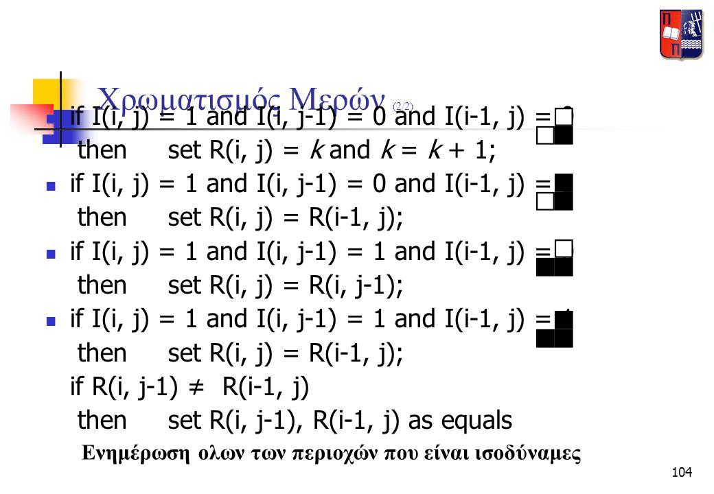 104 Χρωματισμός Μερών (2/2)  if I(i, j) = 1 and I(i, j-1) = 0 and I(i-1, j) = 0 then set R(i, j) = k and k = k + 1;  if I(i, j) = 1 and I(i, j-1) =
