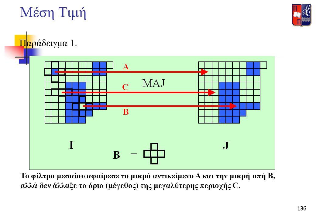 136 Μέση Τιμή Παράδειγμα 1. Το φίλτρο μεσαίου αφαίρεσε το μικρό αντικείμενο Α και την μικρή οπή Β, αλλά δεν άλλαξε το όριο (μέγεθος) της μεγαλύτερης π
