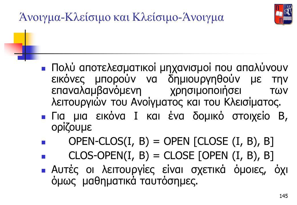 145 Άνοιγμα-Κλείσιμο και Κλείσιμο-Άνοιγμα  Πολύ αποτελεσματικοί μηχανισμοί που απαλύνουν εικόνες μπορούν να δημιουργηθούν με την επαναλαμβανόμενη χρη