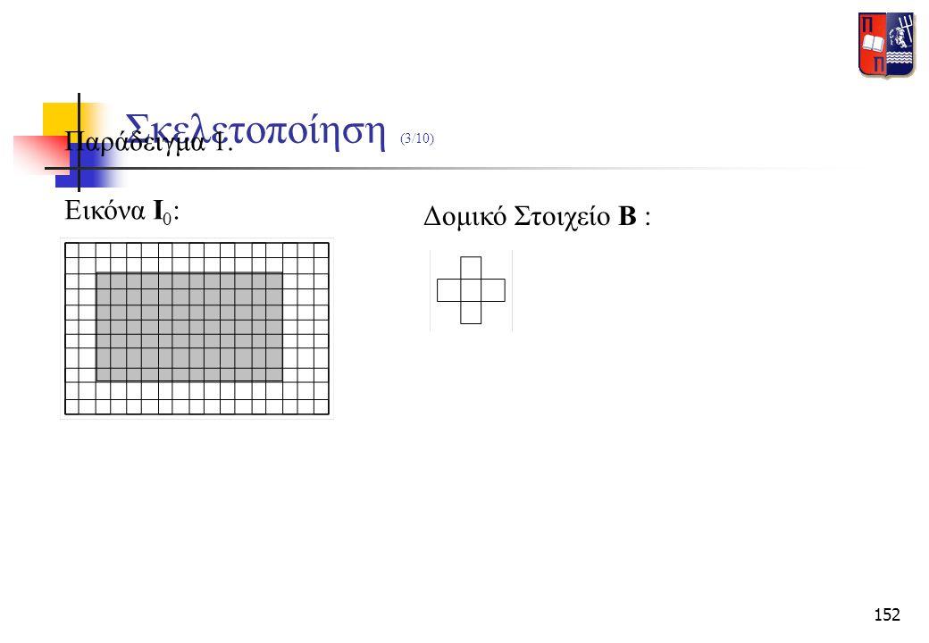 152 Σκελετοποίηση (3/10) Παράδειγμα 1. Εικόνα Ι 0 : Δομικό Στοιχείο Β :