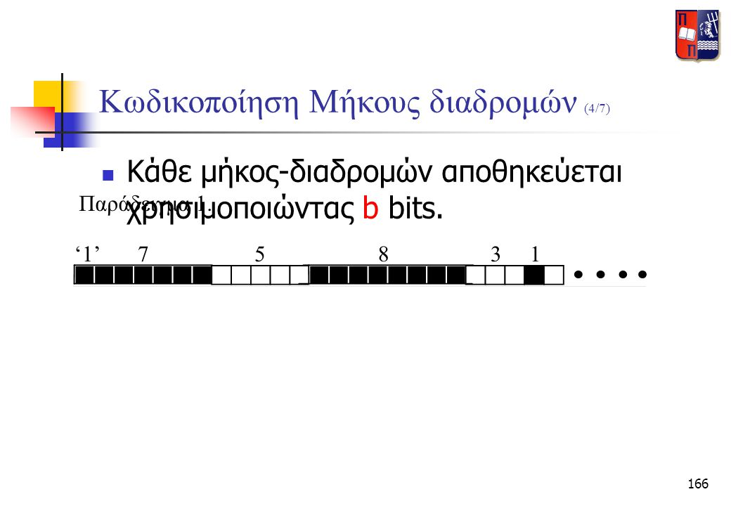 166 Κωδικοποίηση Μήκους διαδρομών (4/7)  Κάθε μήκος-διαδρομών αποθηκεύεται χρησιμοποιώντας b bits. Παράδειγμα 1. '1'75831