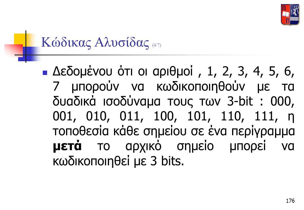 176 Κώδικας Αλυσίδας (4/7)  Δεδομένου ότι οι αριθμοί, 1, 2, 3, 4, 5, 6, 7 μπορούν να κωδικοποιηθούν με τα δυαδικά ισοδύναμα τους των 3-bit : 000, 001