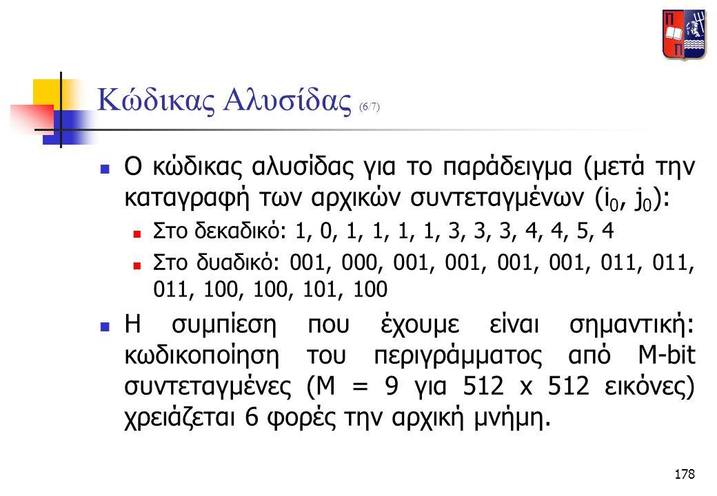 178 Κώδικας Αλυσίδας (6/7)  Ο κώδικας αλυσίδας για το παράδειγμα (μετά την καταγραφή των αρχικών συντεταγμένων (i 0, j 0 ):  Στο δεκαδικό: 1, 0, 1,