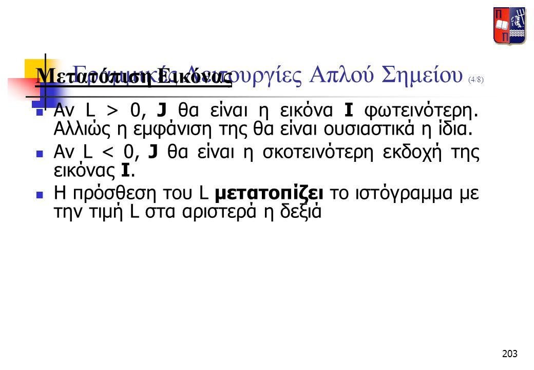 203 Γραμμικές Λειτουργίες Απλού Σημείου (4/8) Μετατόπιση Εικόνας  Αν L > 0, J θα είναι η εικόνα I φωτεινότερη. Αλλιώς η εμφάνιση της θα είναι ουσιαστ