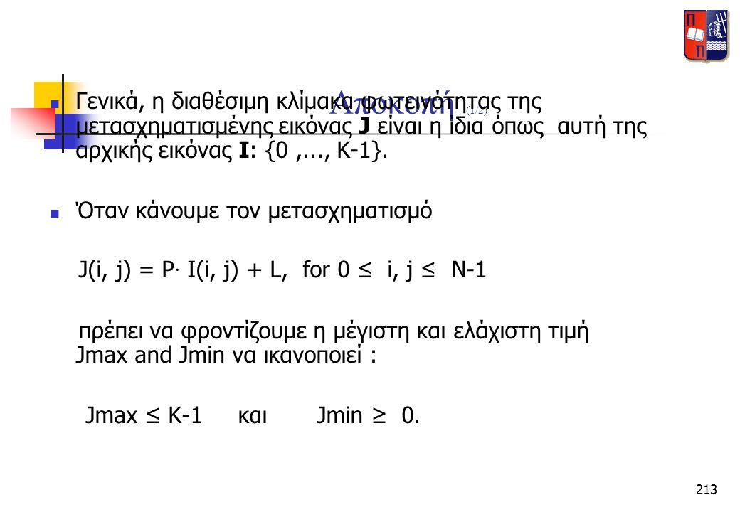 213 Αποκοπή (1/2)  Γενικά, η διαθέσιμη κλίμακα φωτεινότητας της μετασχηματισμένης εικόνας J είναι η ίδια όπως αυτή της αρχικής εικόνας I: {0,..., K-1