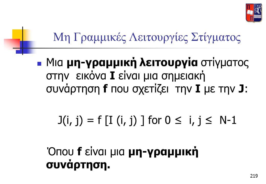 219 Μη Γραμμικές Λειτουργίες Στίγματος  Μια μη-γραμμική λειτουργία στίγματος στην εικόνα Ι είναι μια σημειακή συνάρτηση f που σχετίζει την I με την J
